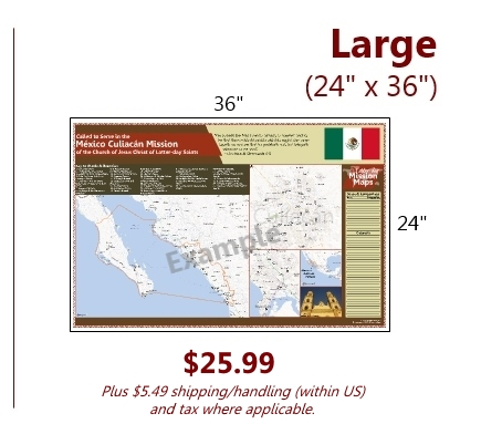 Large (24x36) $23.99 plus $3.99 shipping and handling and tax where applicable